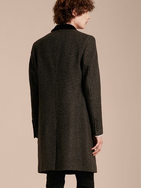 Mid camel Velvet Collar Tailored Wool Blend Coat - cell image 2