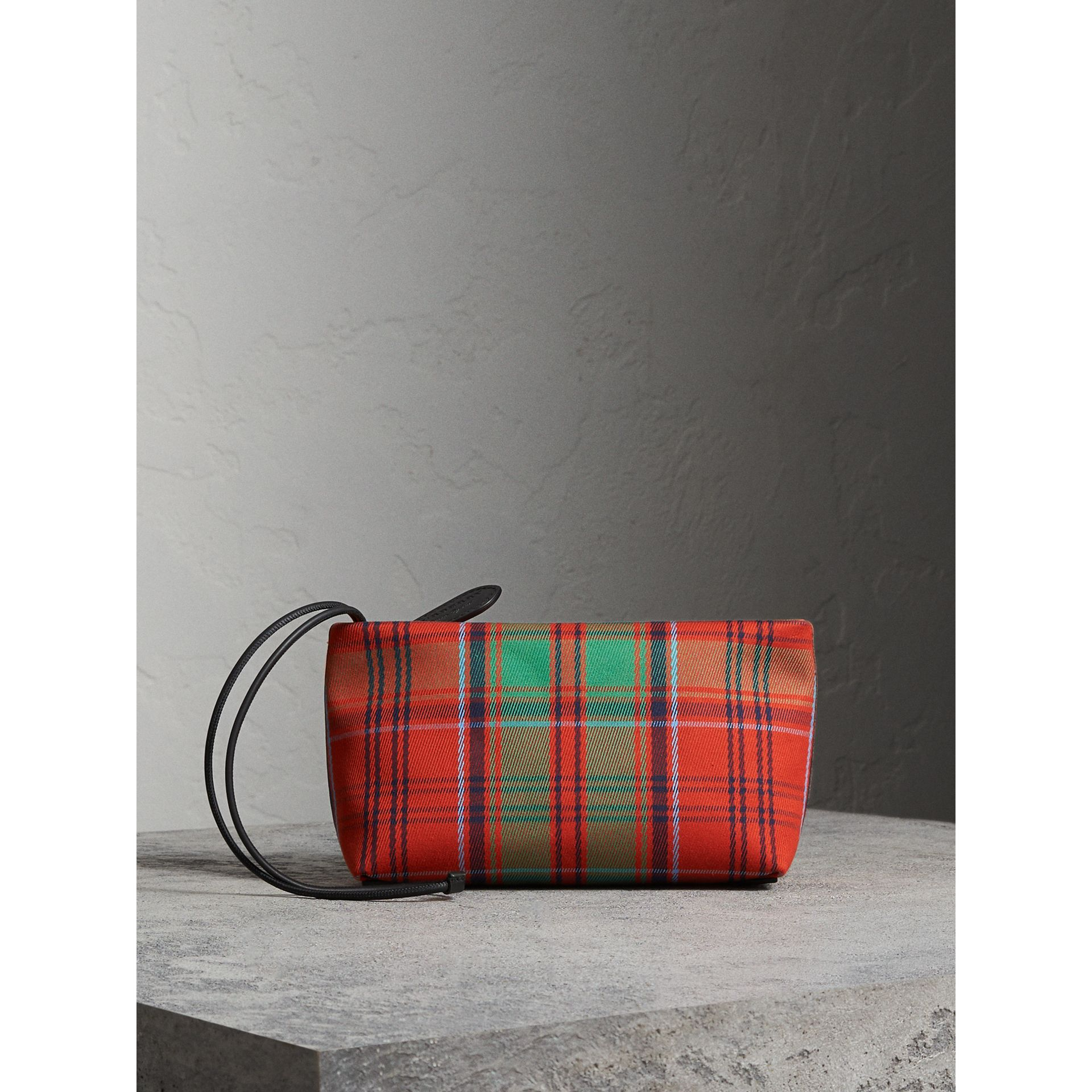 Tartan Cotton Clutch in Orange Red/vibrant Red | Burberry Australia - gallery image 6