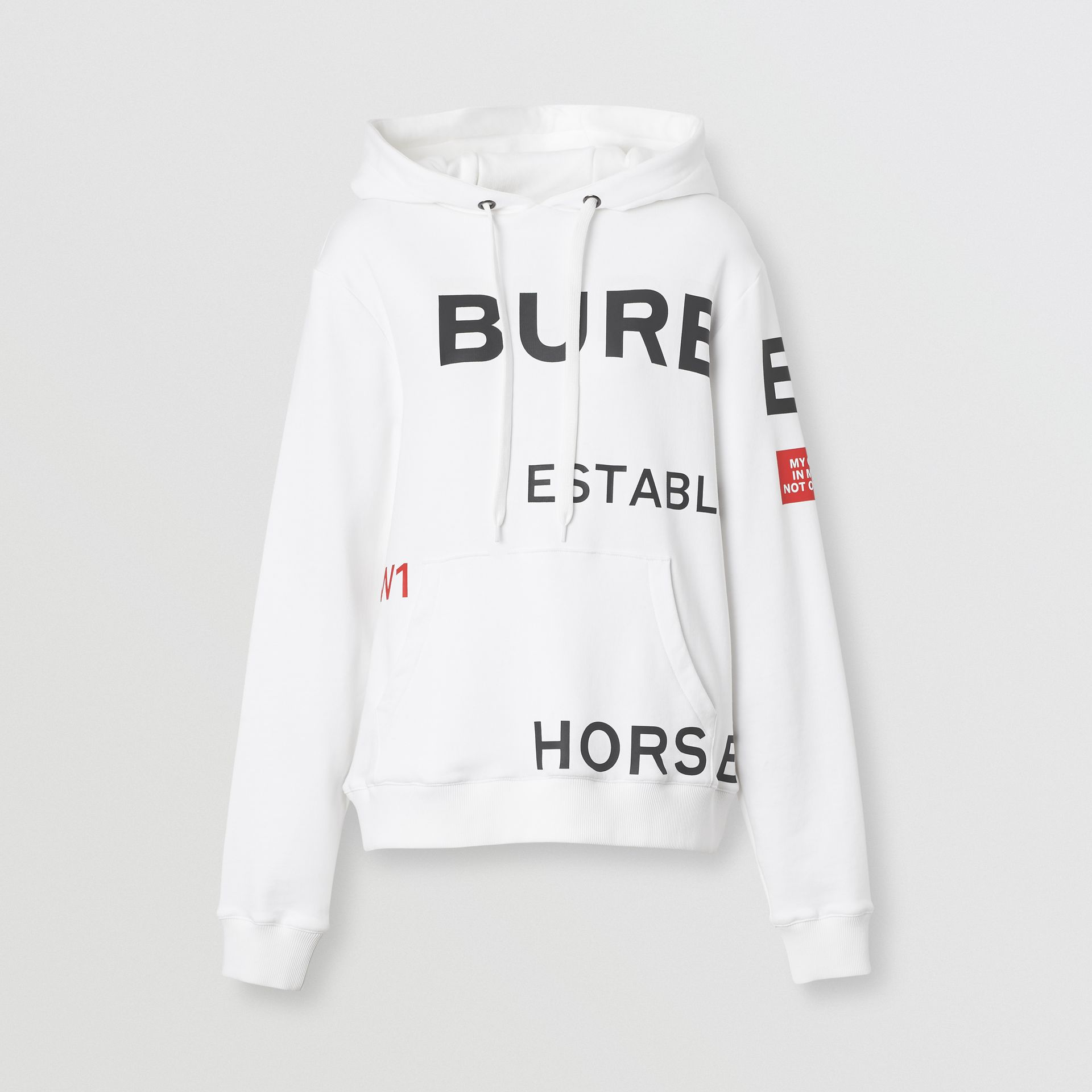 Horseferry Print Cotton Oversized Hoodie in White - Women | Burberry Singapore - gallery image 3