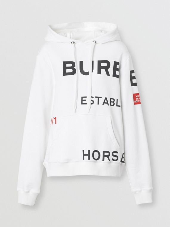 Horseferry Print Cotton Oversized Hoodie in White