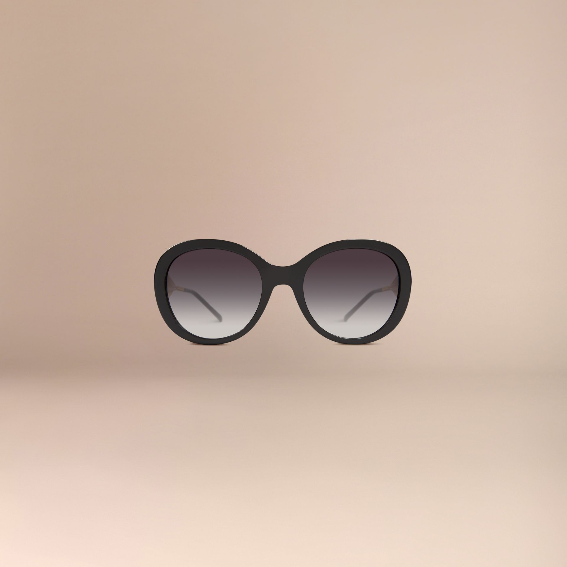 Oversize Round Frame Sunglasses in Black - Women | Burberry - gallery image 2