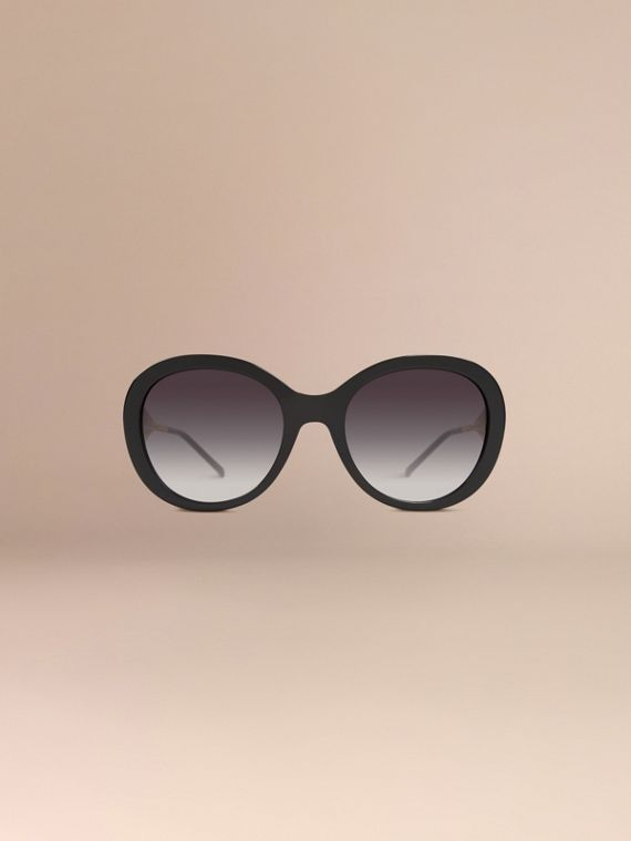 Oversize Round Frame Sunglasses in Black - Women | Burberry - cell image 2