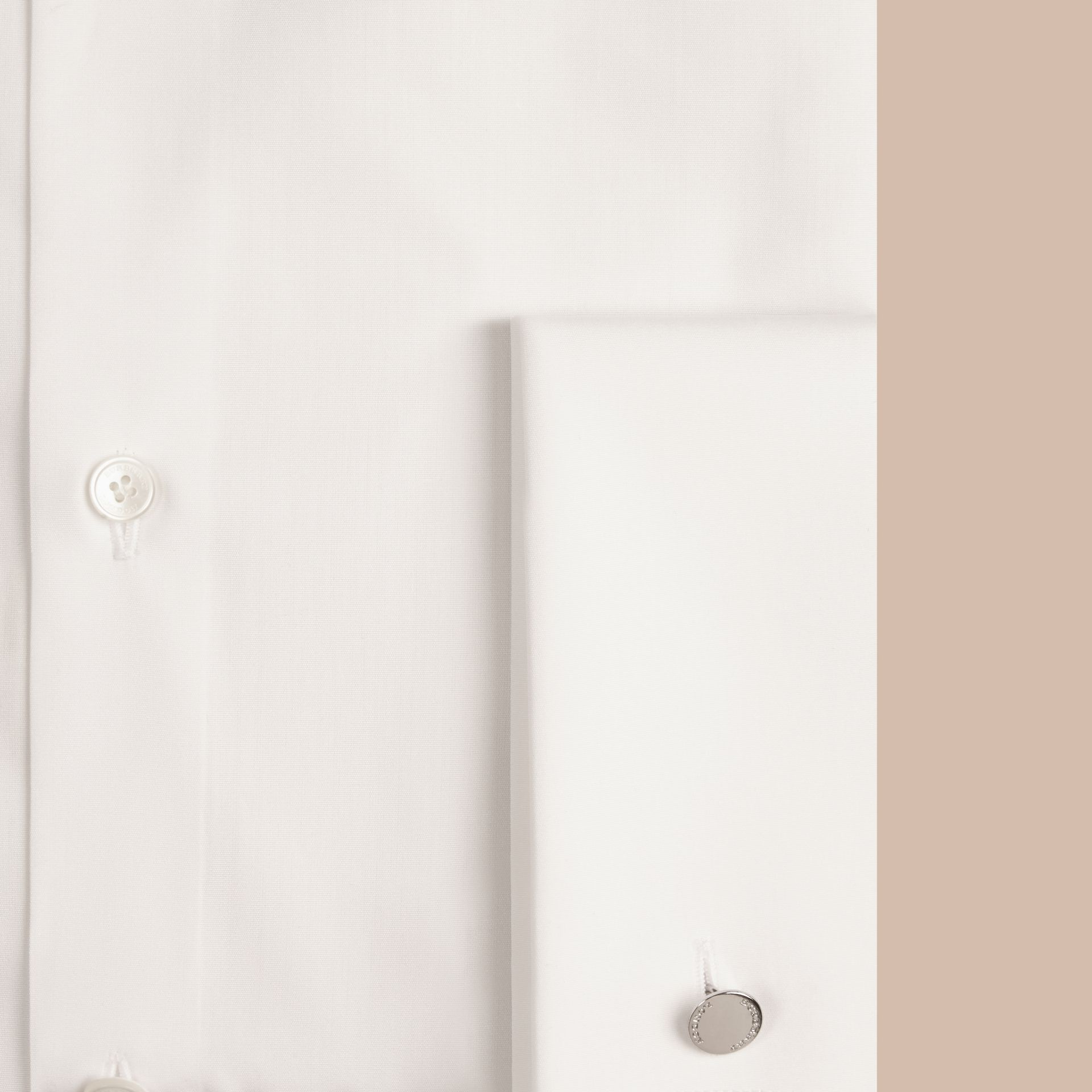 White Slim Fit Double Cuff Cotton Poplin Shirt - gallery image 2