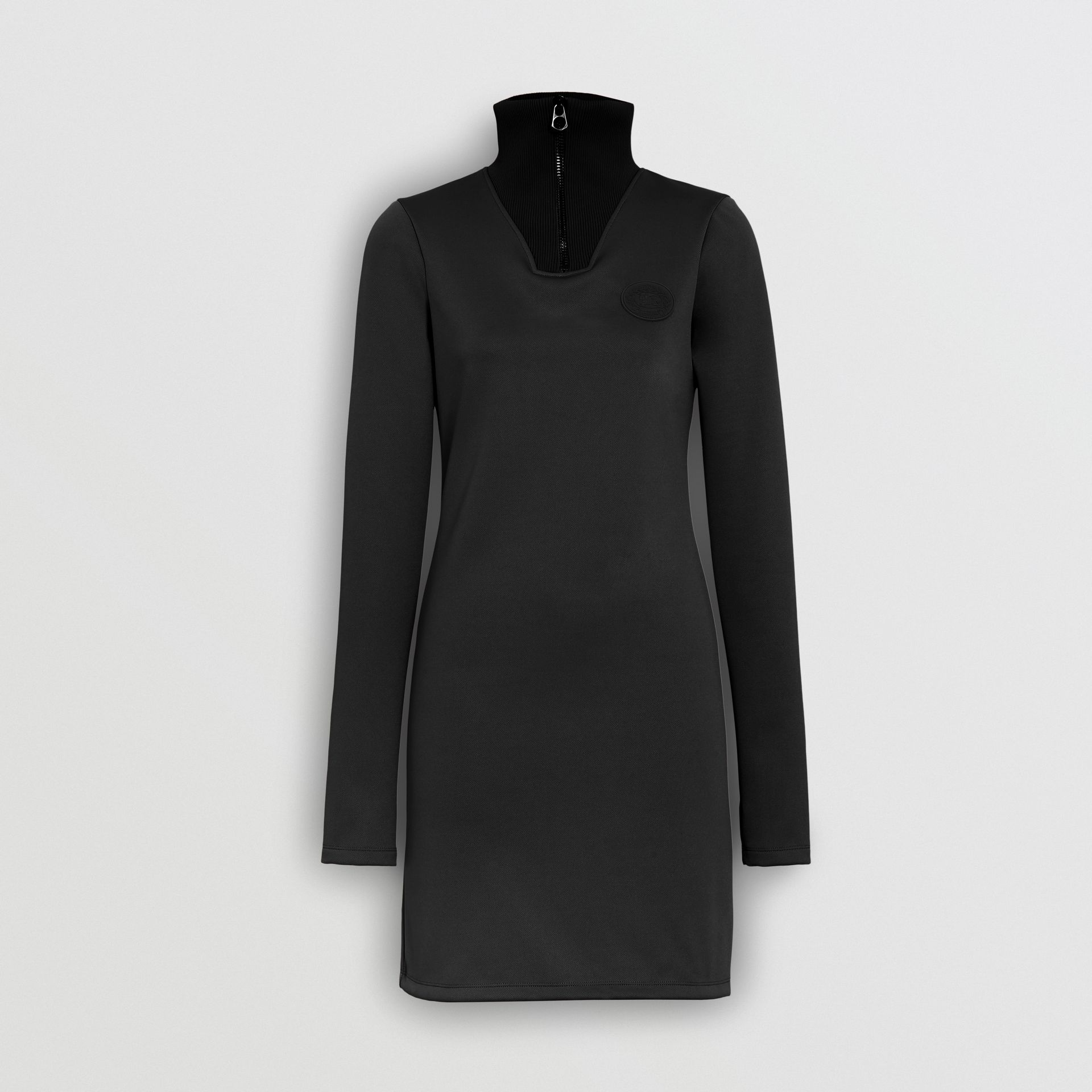 Zip Detail Funnel Neck Mini Dress in Black - Women | Burberry - gallery image 3