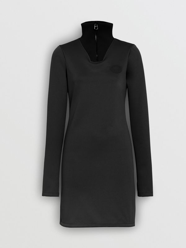 Zip Detail Funnel Neck Mini Dress in Black - Women | Burberry - cell image 3