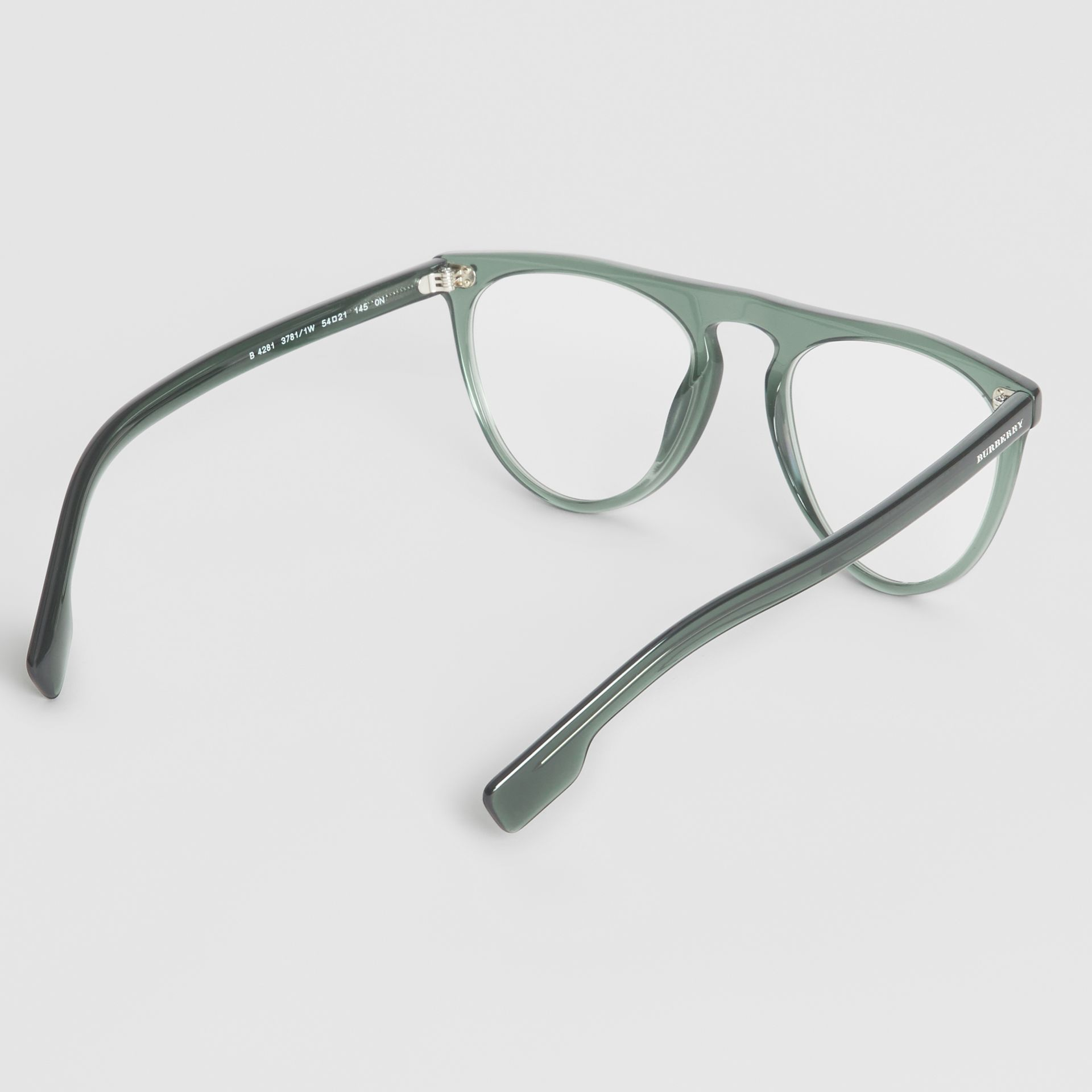 Keyhole D-shaped Optical Frames in Green - Men | Burberry - gallery image 4