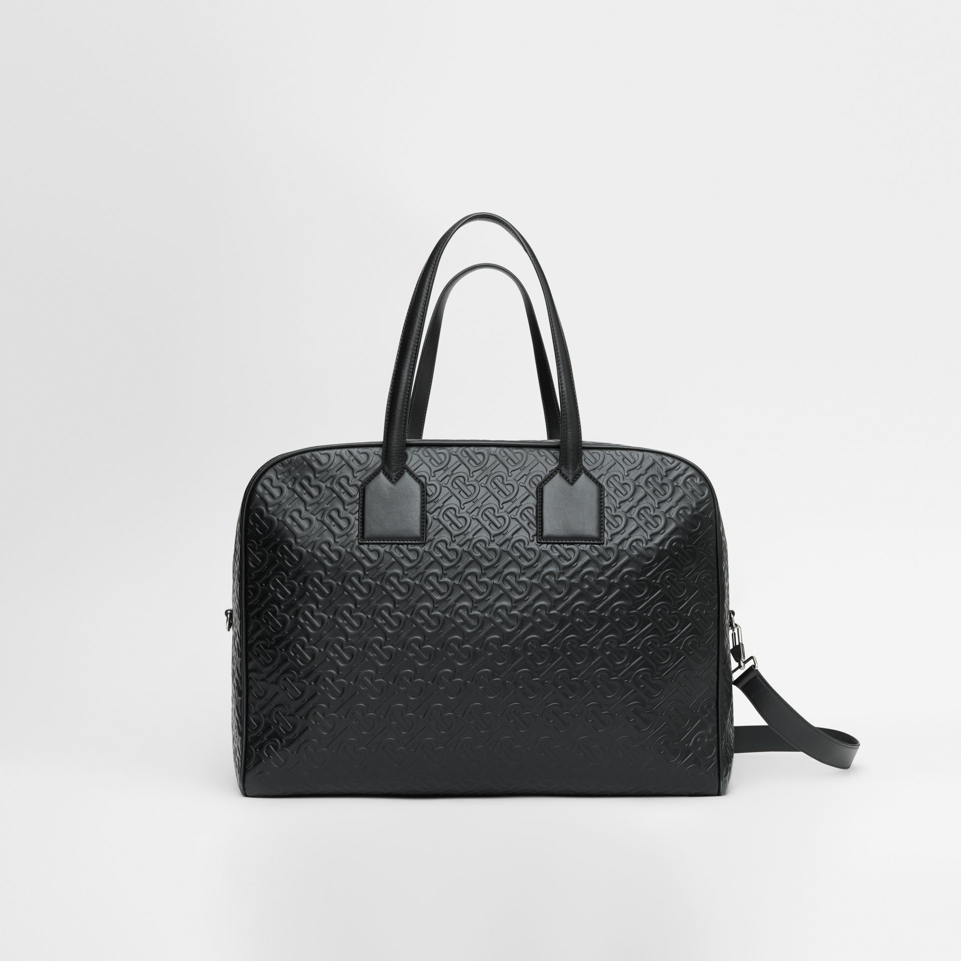 Large Monogram Leather Cube Bag in Black - Men | Burberry - gallery image 0