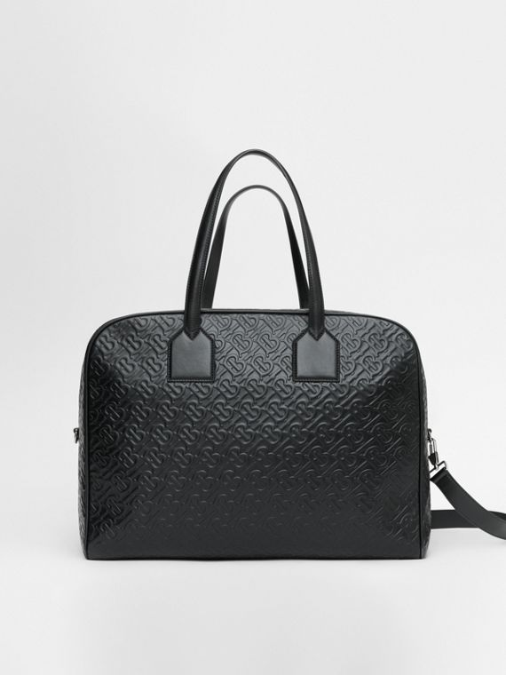 Large Monogram Leather Cube Bag in Black