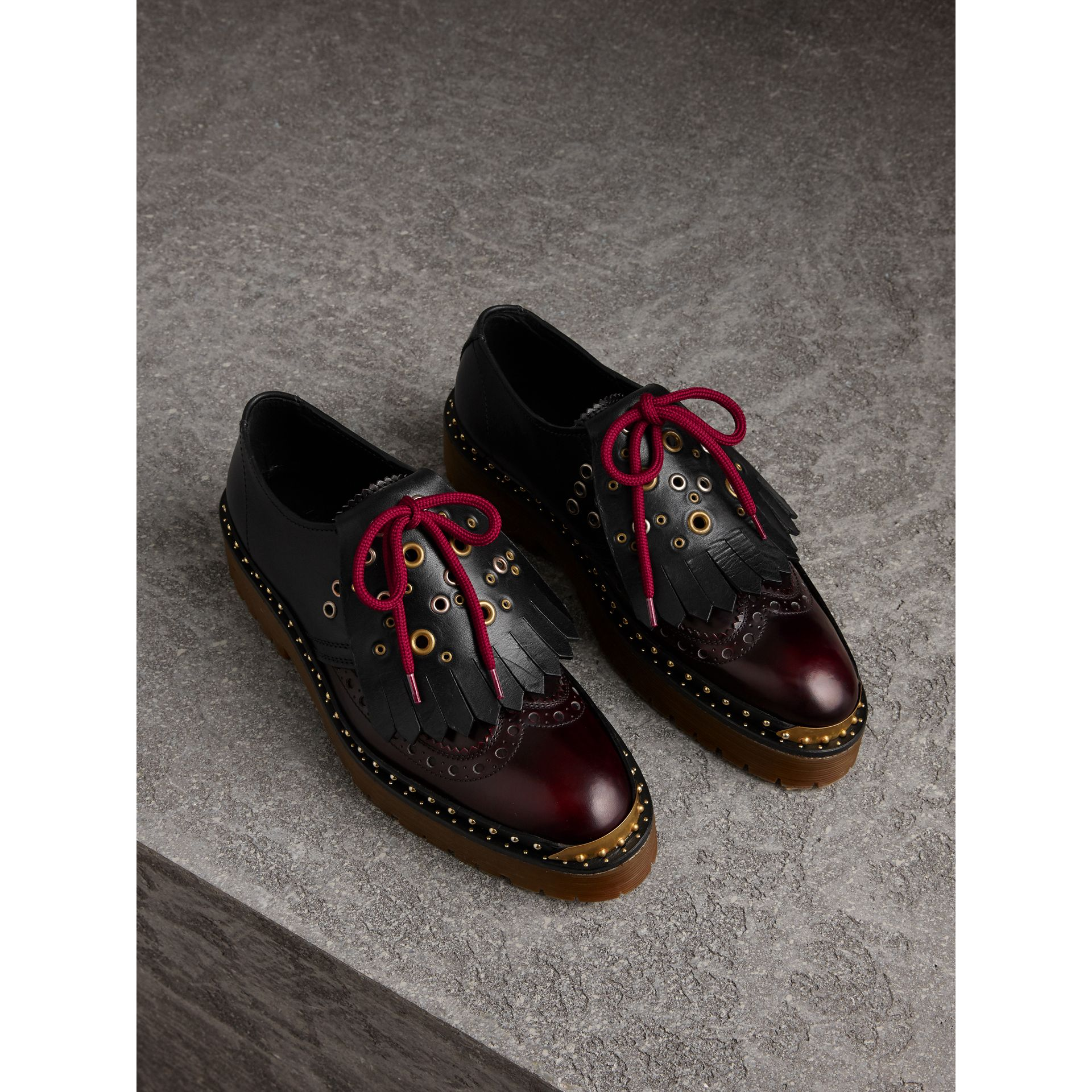 Lace-up Kiltie Fringe Riveted Leather Brogues in Black - Women | Burberry - gallery image 0