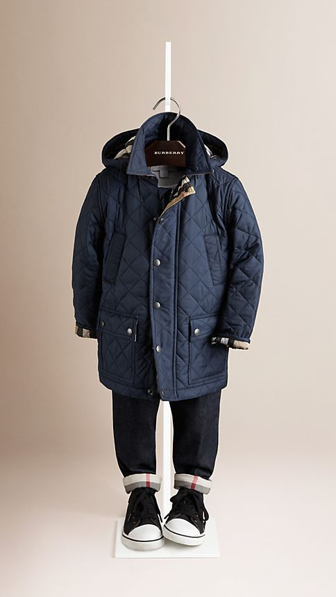 Navy Check Detail Diamond Quilted Jacket - Image 1