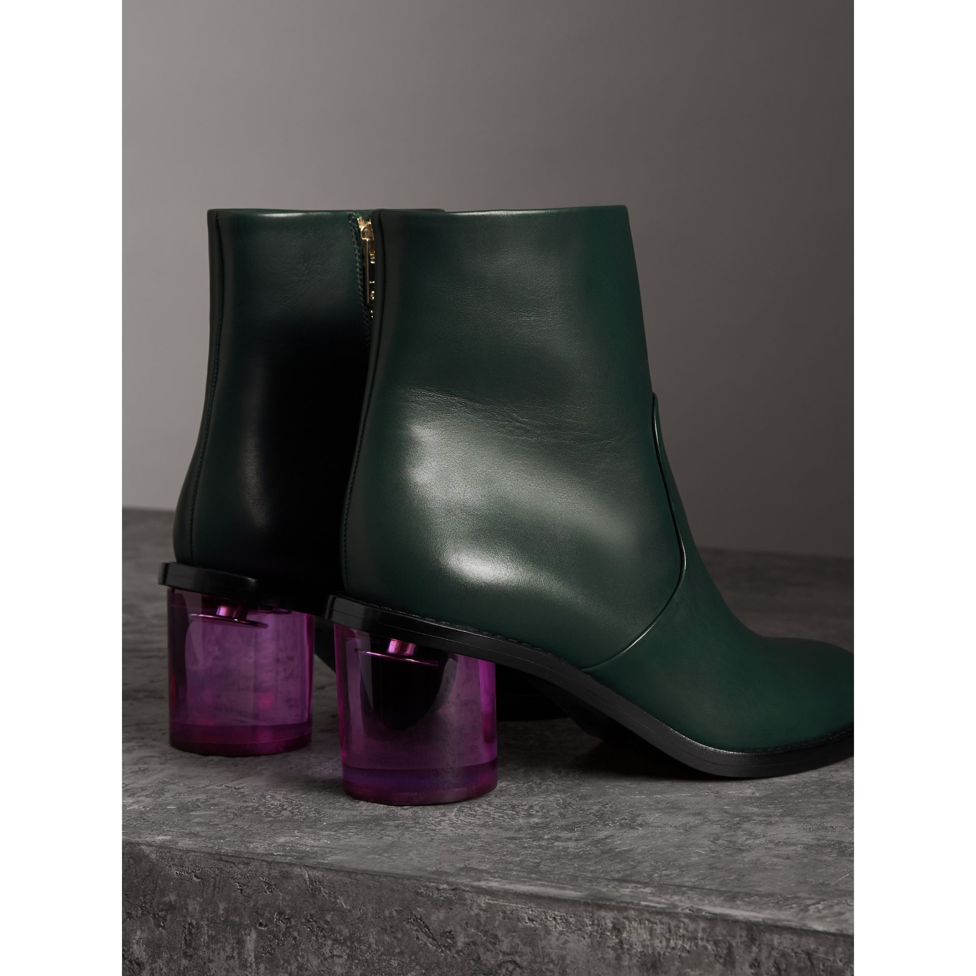 Two-tone Leather Block-heel Boots in Dark Forest Green - Women | Burberry - gallery image 3
