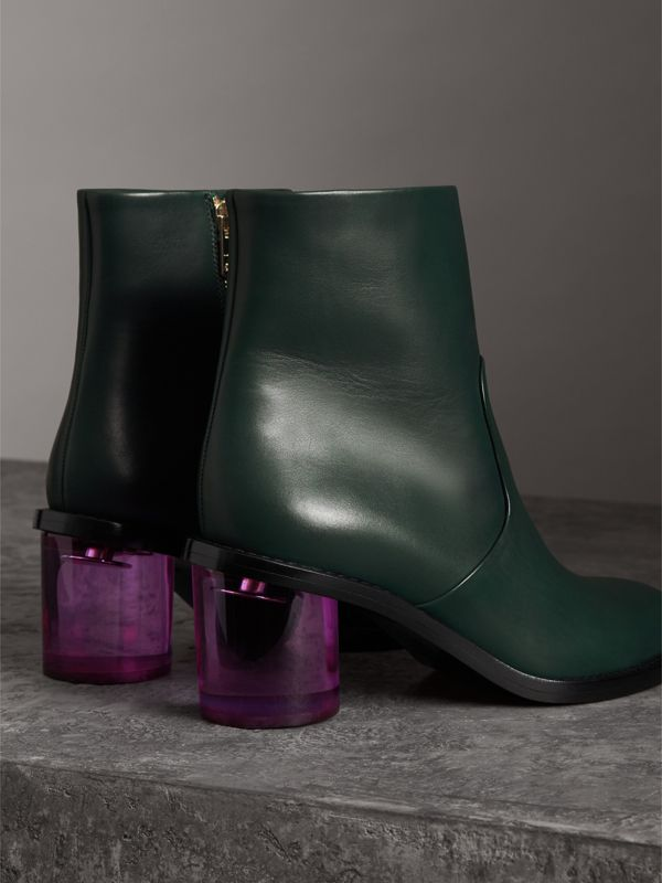 Two-tone Leather Block-heel Boots in Dark Forest Green - Women | Burberry - cell image 3
