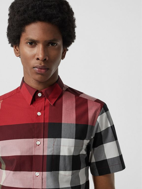 Short-sleeve Check Stretch Cotton Shirt in Parade Red - Men | Burberry - cell image 1