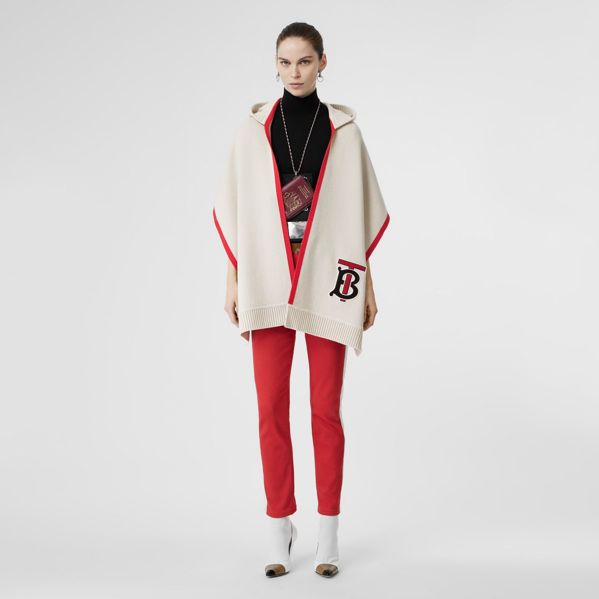 Monogram Motif Cashmere Hooded Scarf in Natural White - Women | Burberry - gallery image 0