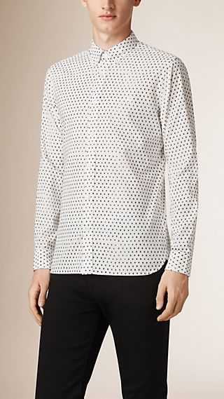 Dot Print Cotton Linen Shirt