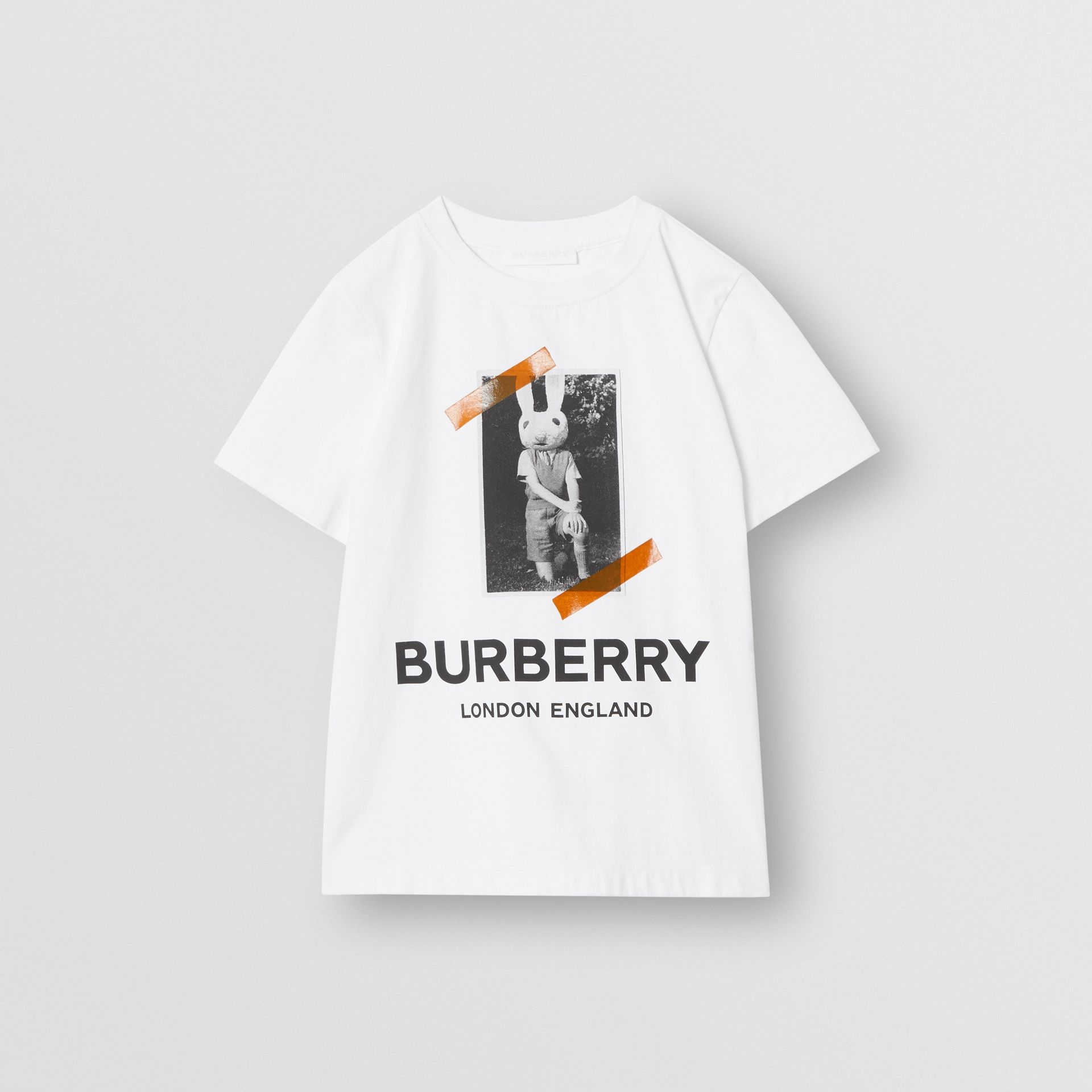 Vintage Photo Print Cotton T-shirt in White | Burberry - gallery image 0
