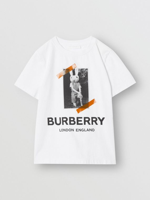 Vintage Photo Print Cotton T-shirt in White