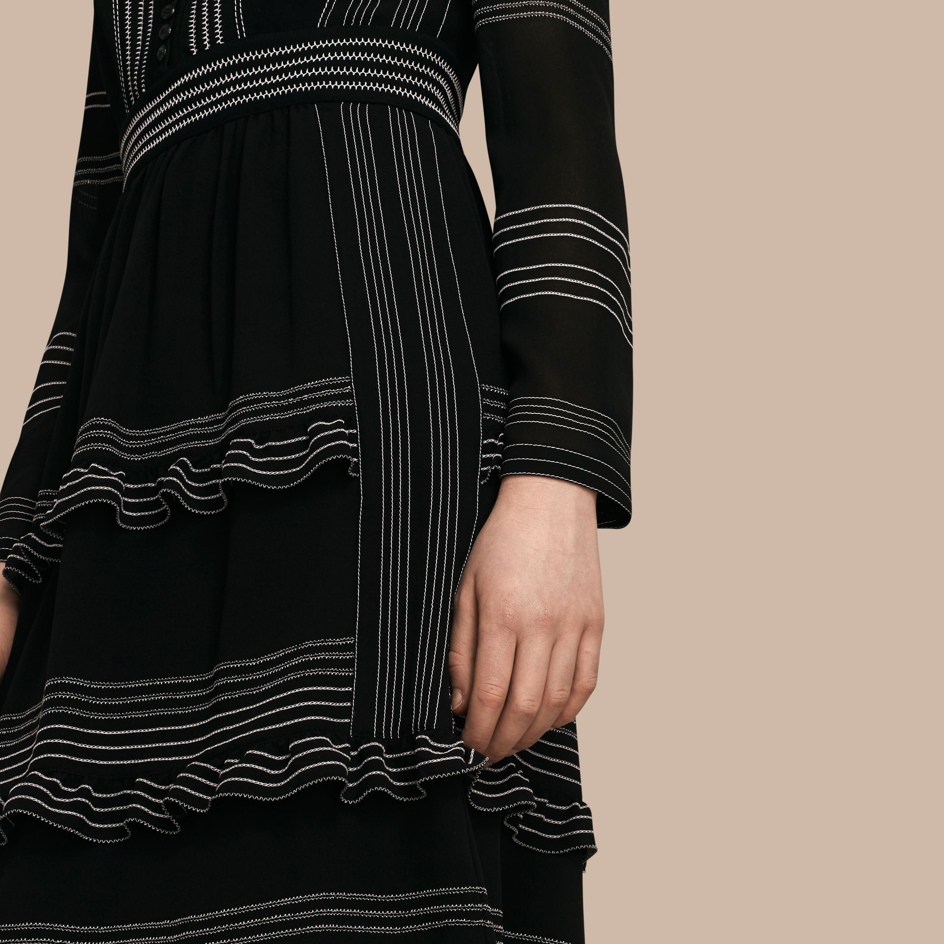 Black Topstitch Detail Silk Shirt Dress - gallery image 5
