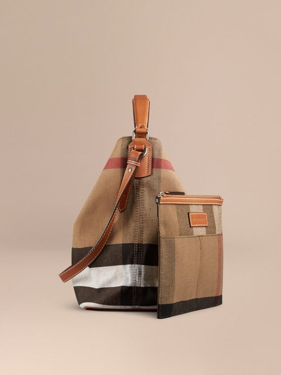 The Medium Ashby in Canvas Check and Leather in Saddle Brown - cell image 3