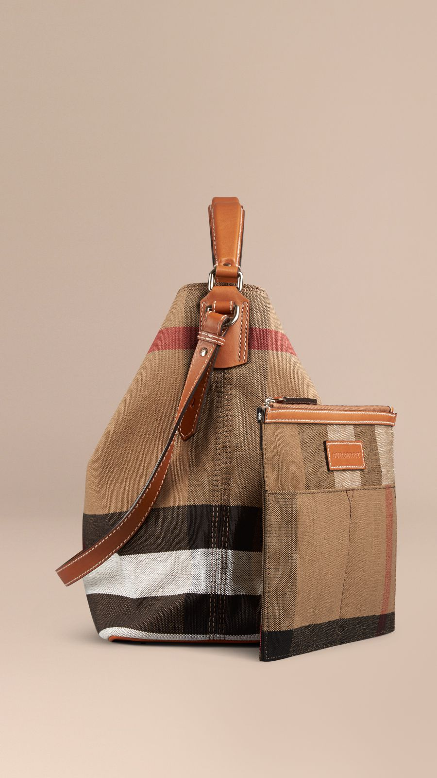 Saddle brown The Medium Ashby in Canvas Check and Leather Saddle Brown - Image 4