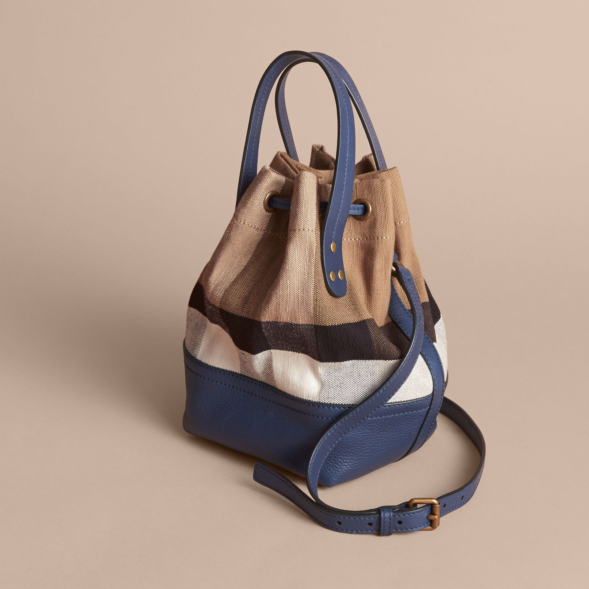 Small Canvas Check and Leather Bucket Bag in Brilliant Navy - Women | Burberry United States - gallery image 5