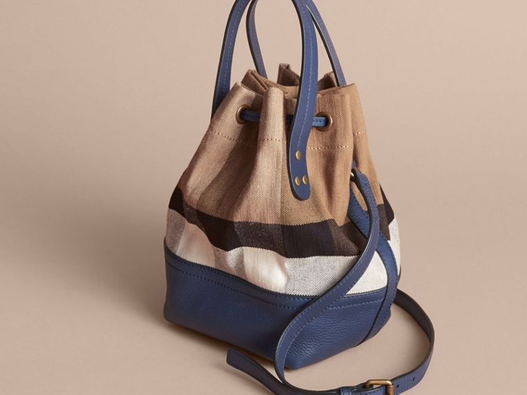 Small Canvas Check and Leather Bucket Bag in Brilliant Navy - Women | Burberry United States - cell image 4