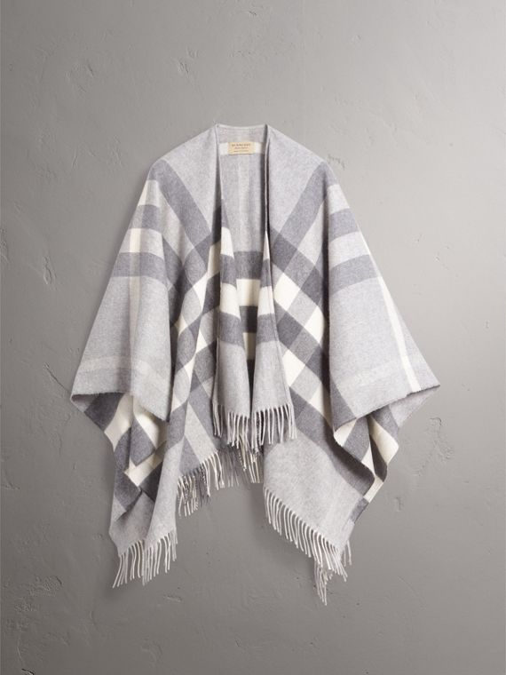 Check Cashmere and Wool Poncho in Pale Grey - Women | Burberry - cell image 3