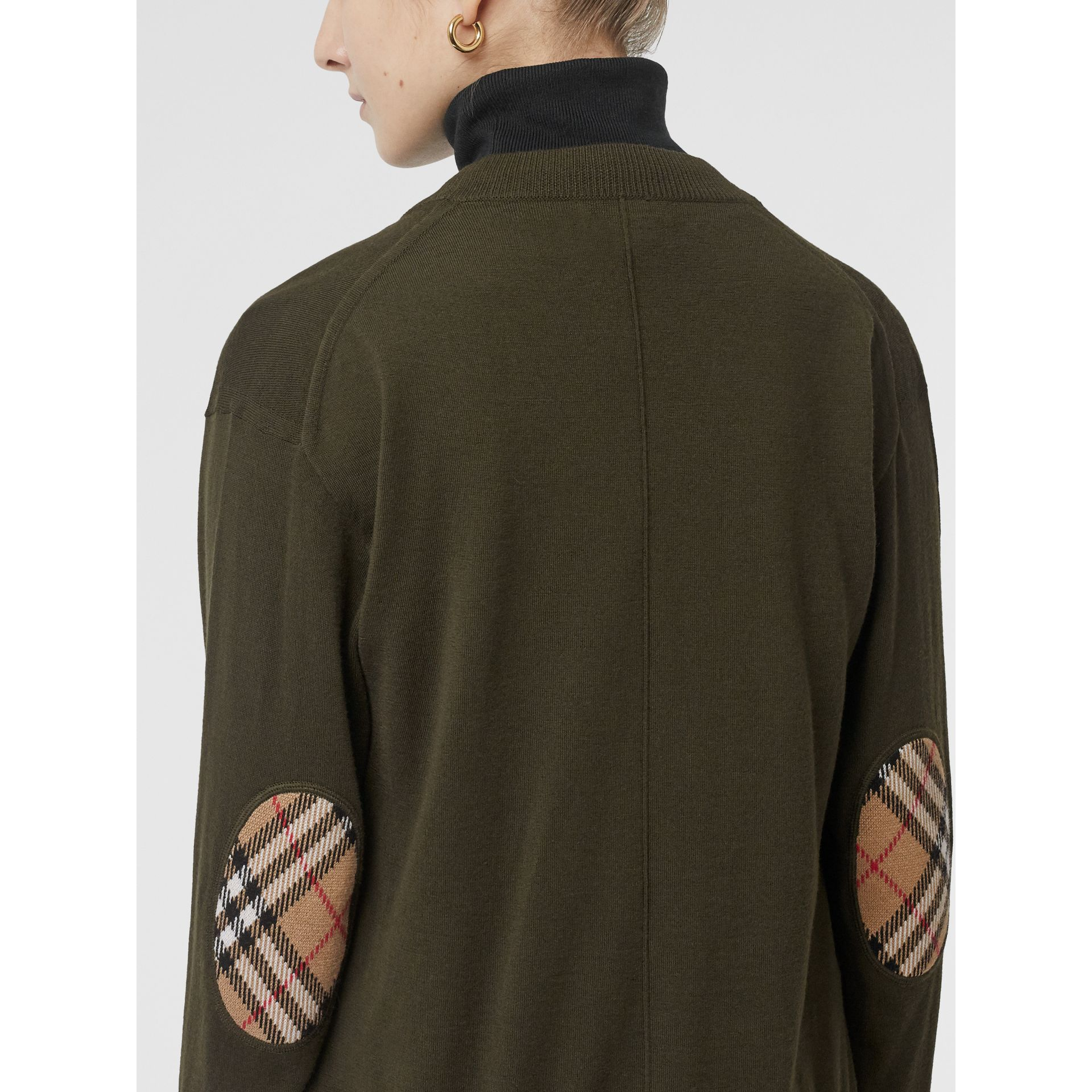 Vintage Check Detail Merino Wool Cardigan in Dark Olive - Women | Burberry - gallery image 1