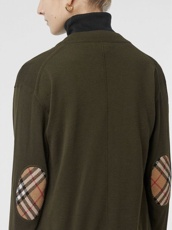 Vintage Check Detail Merino Wool Cardigan in Dark Olive - Women | Burberry - cell image 1