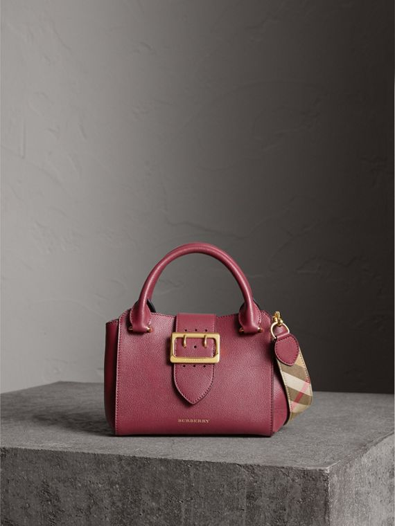 The Small Buckle Tote in Grainy Leather in Dark Plum - Women | Burberry Hong Kong