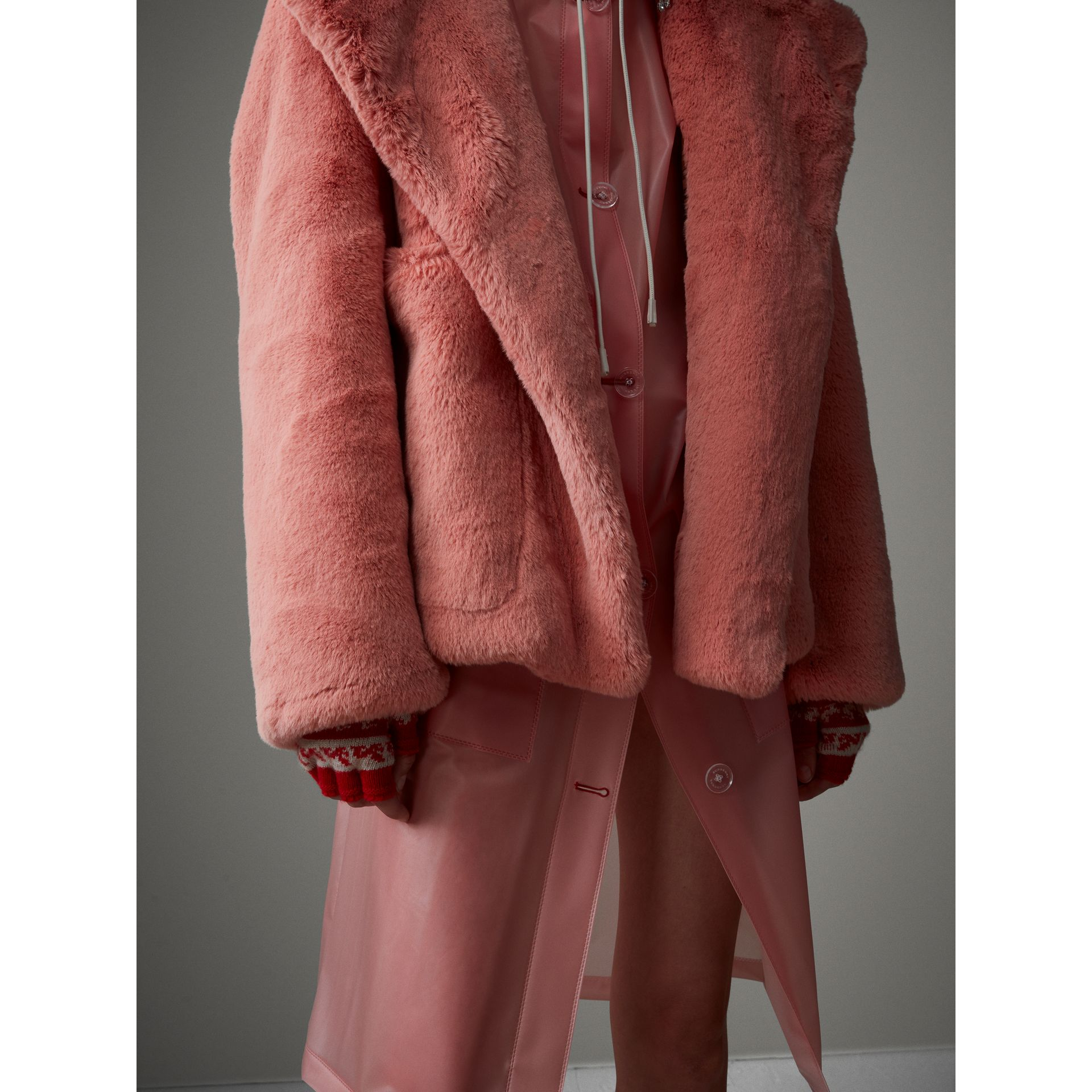 Faux Fur Hooded Jacket in Pale Pink - Women | Burberry - gallery image 4