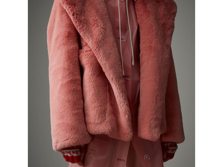 Faux Fur Hooded Jacket in Pale Pink - Women | Burberry United Kingdom - cell image 4