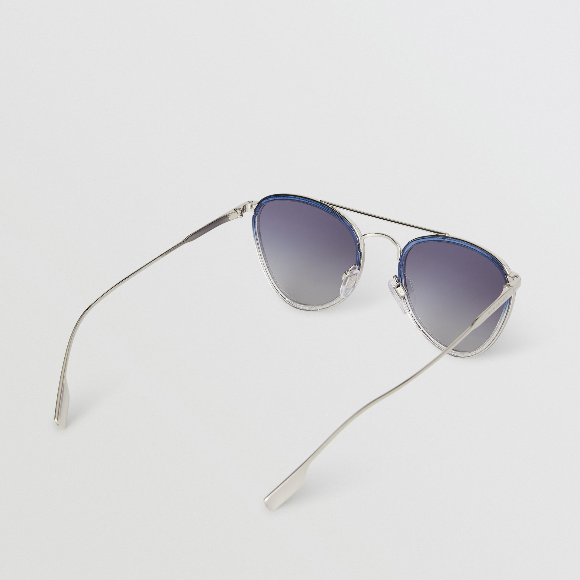 Glitter Detail Pilot Sunglasses in Blue - Women | Burberry Australia - gallery image 4