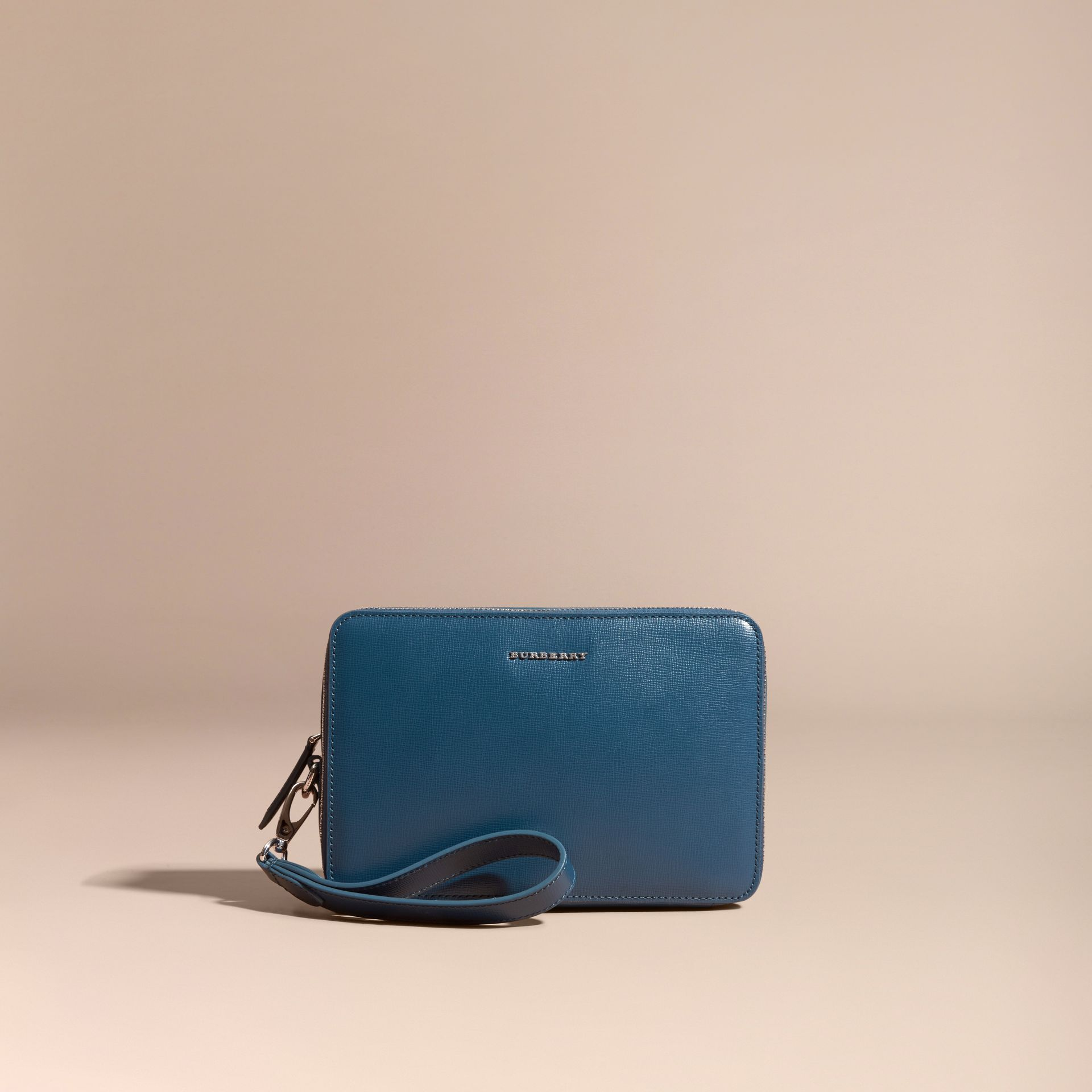 Mineral blue London Leather Pouch Mineral Blue - gallery image 6