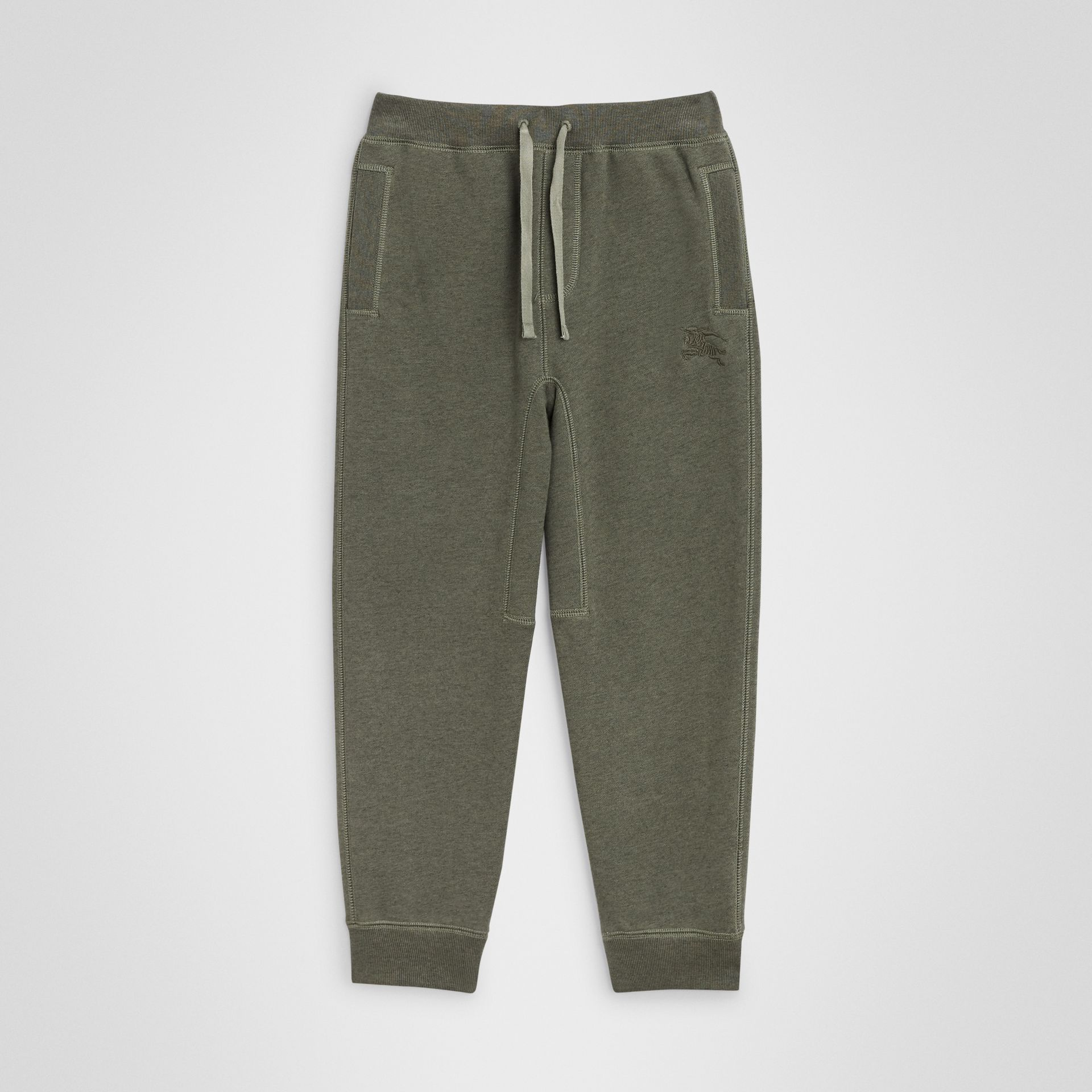 Cotton Jersey Trackpants in Olive Melange | Burberry Canada - gallery image 0