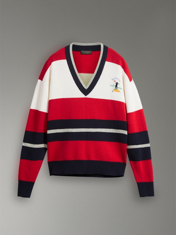 Reissued Striped Lambswool Sweater in Red/white - Women | Burberry Hong Kong - cell image 3