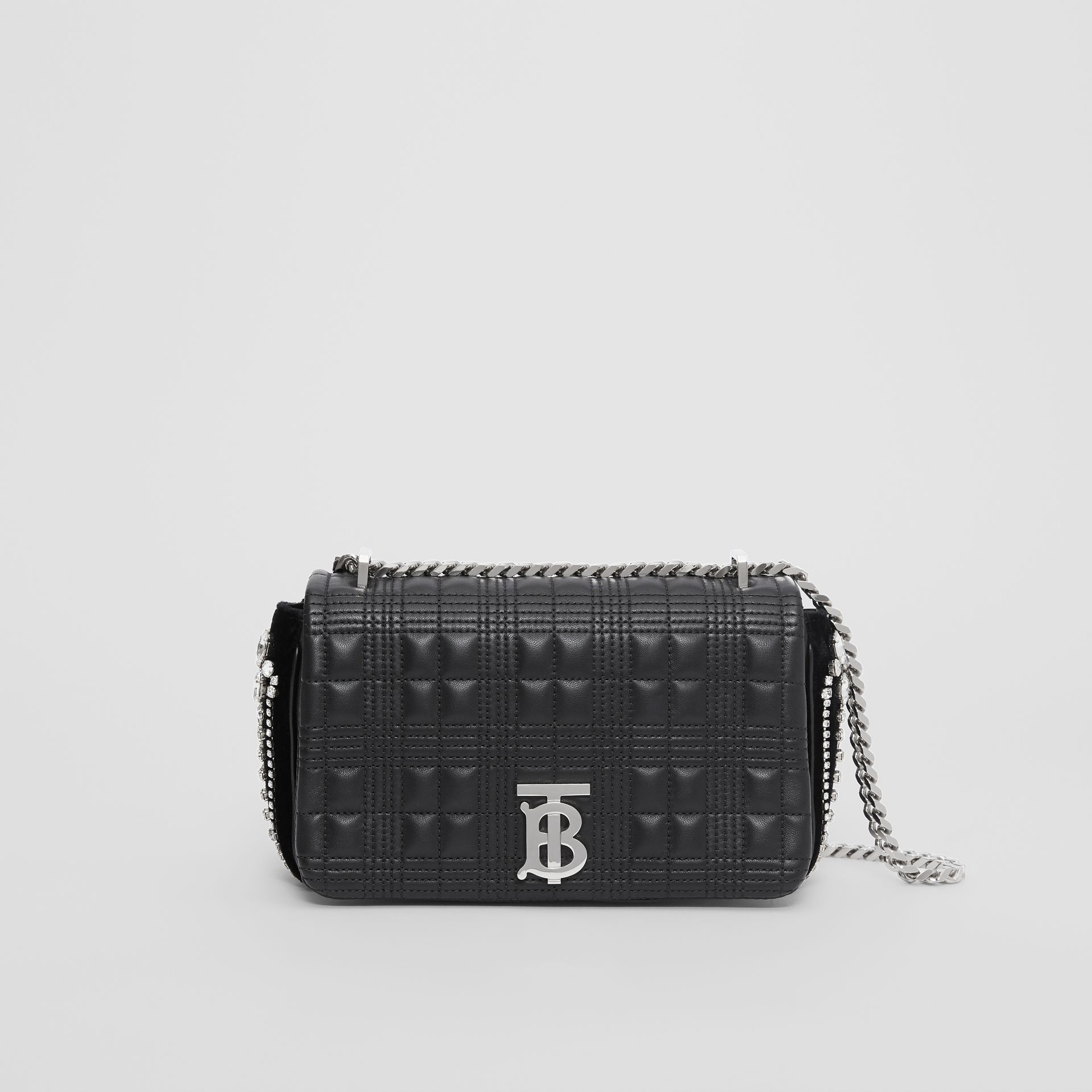 Small Crystal Detail Quilted Check Lambskin Lola Bag in Black - Women | Burberry - gallery image 0