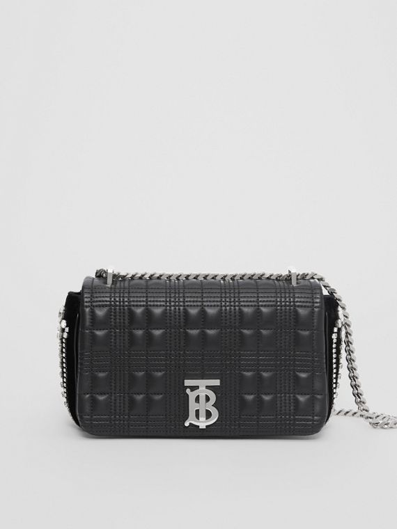Small Crystal Detail Quilted Check Lambskin Lola Bag in Black
