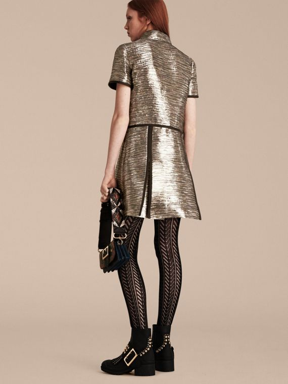 Mist grey Metallic Jacquard Shirt Dress - cell image 2