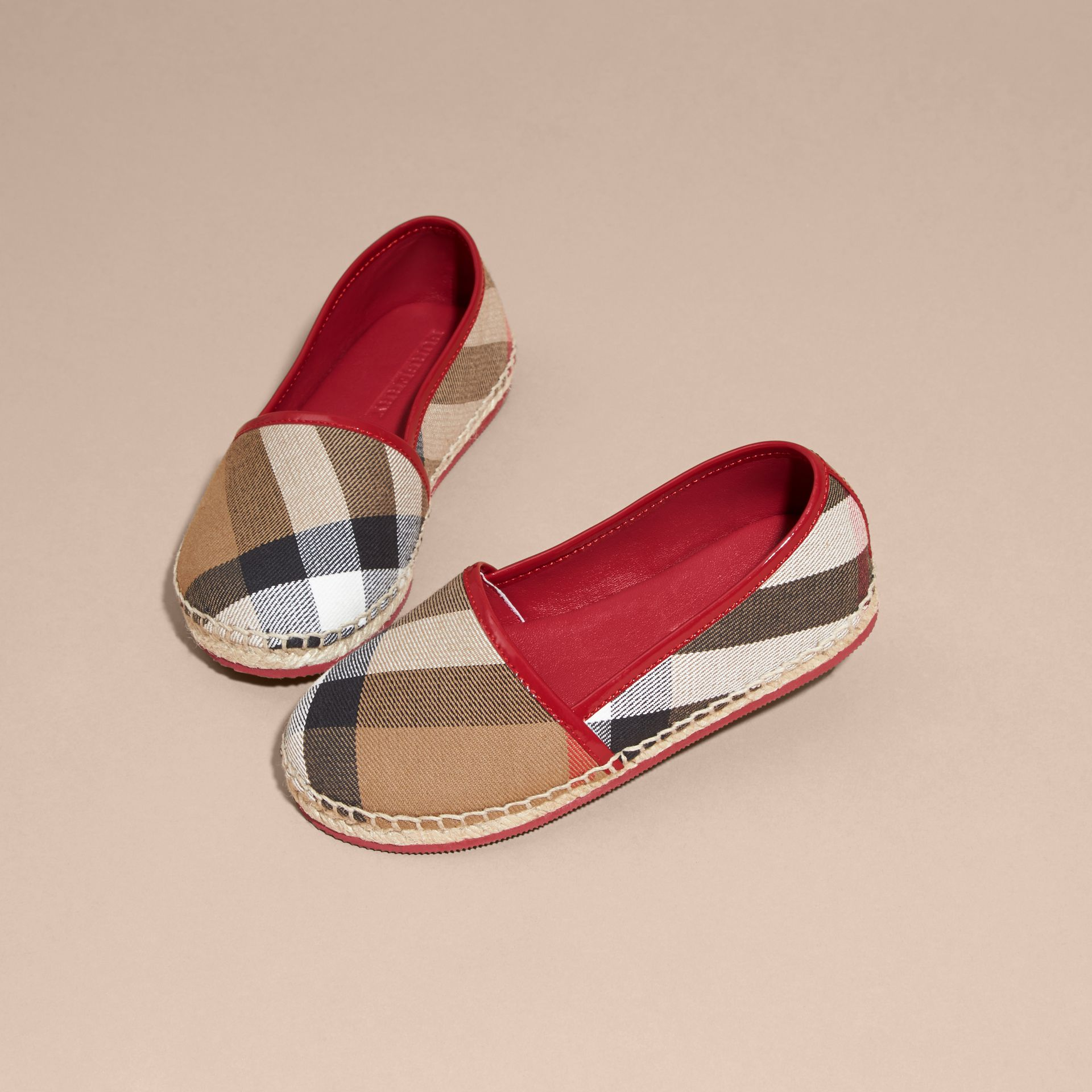 House Check Cotton Canvas Espadrilles Berry Pink - gallery image 3