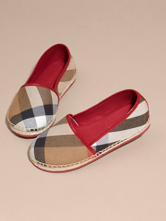 House Check Cotton Canvas Espadrilles Berry Pink - cell image 2