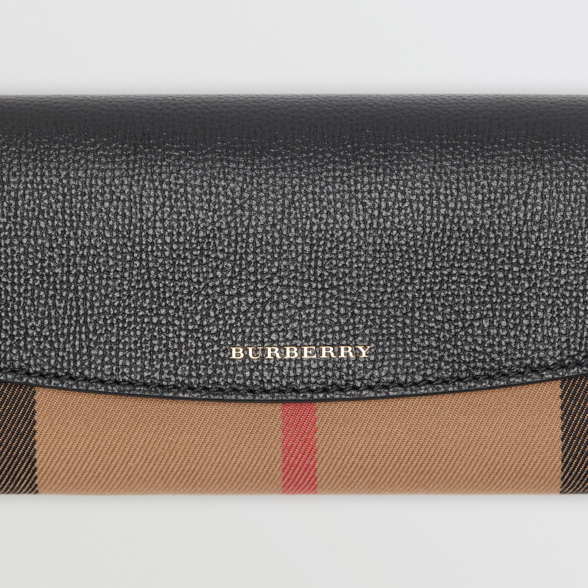 House Check And Leather Continental Wallet in Black - Women | Burberry Hong Kong - gallery image 1