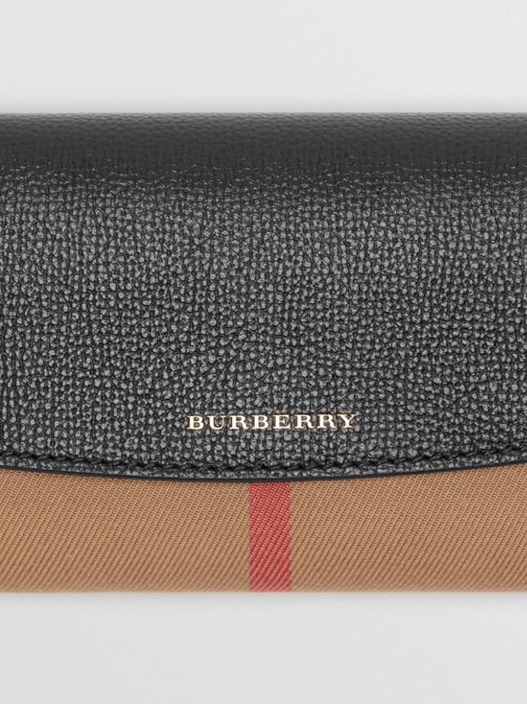 House Check And Leather Continental Wallet in Black - Women | Burberry Hong Kong - cell image 1