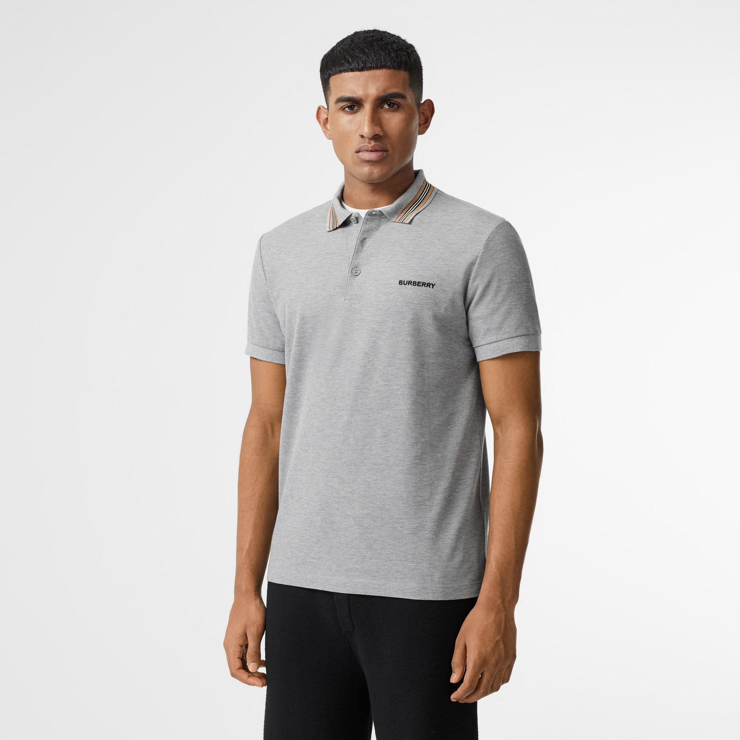 Icon Stripe Detail Cotton Piqué Polo Shirt in Pale Grey Melange - Men | Burberry - 1
