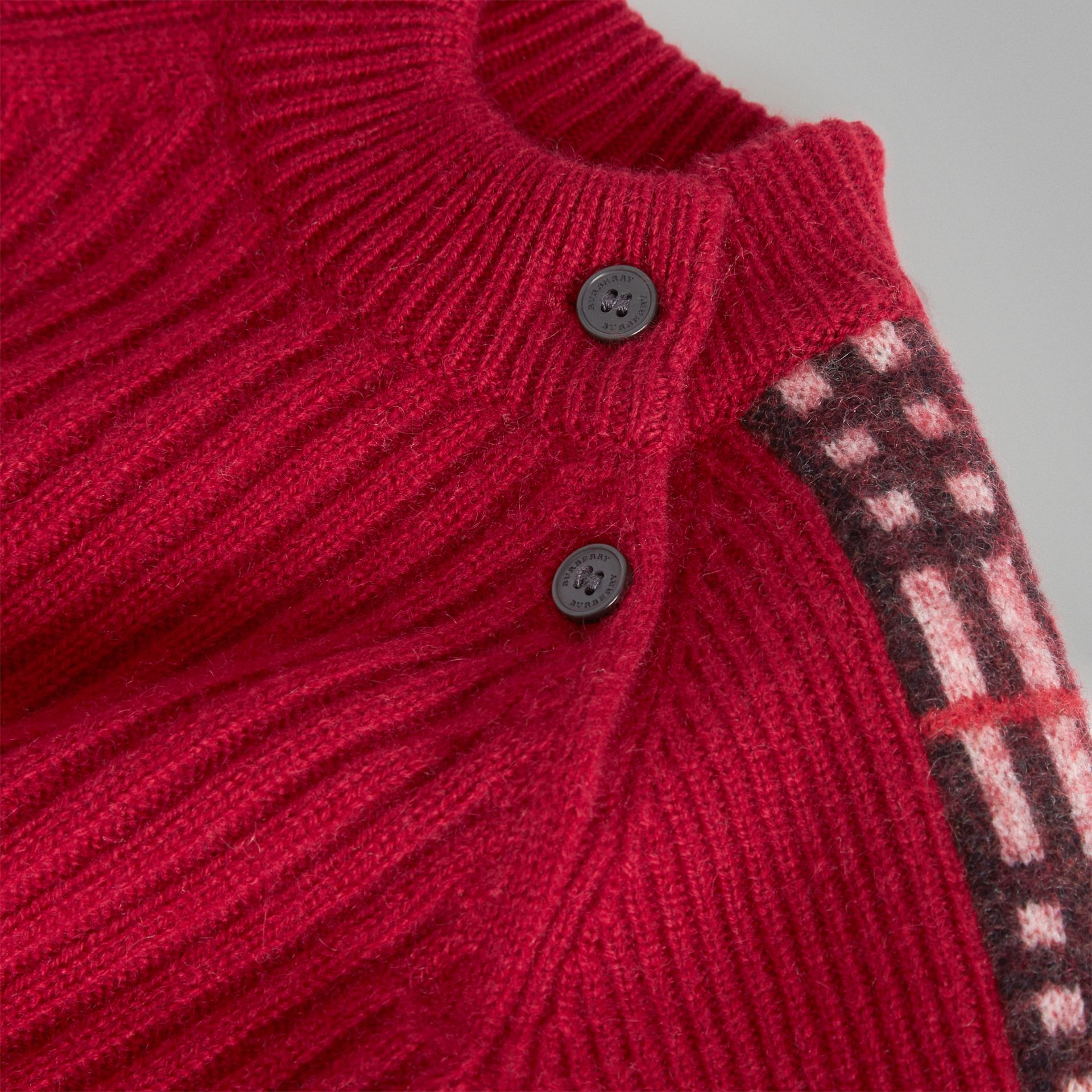 Check Detail Cashmere Jumpsuit in Burgundy Red - Children | Burberry United Kingdom - gallery image 1