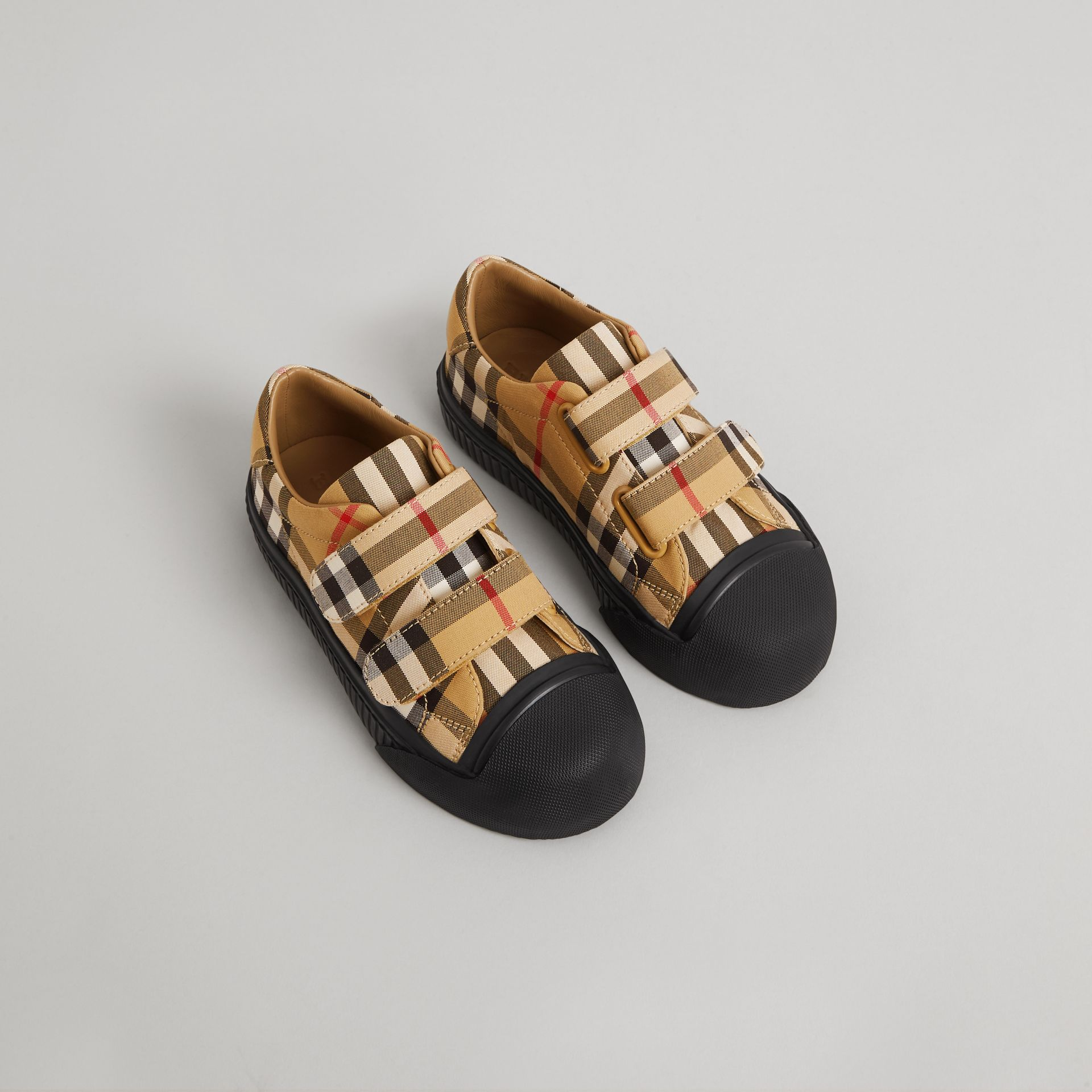 Vintage Check and Leather Sneakers in Antique Yellow/black | Burberry United States - gallery image 0