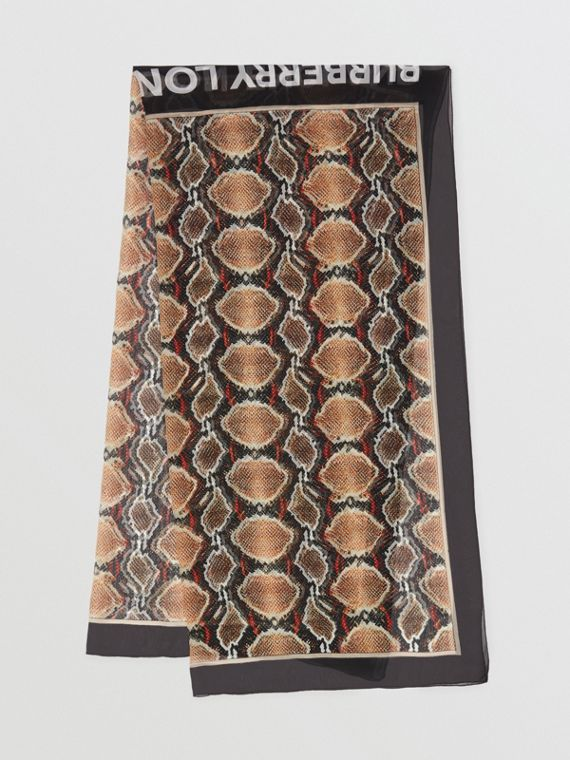 Python Print Silk Chiffon Scarf in Multicolour