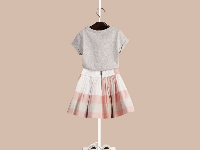 Light copper pink Pleat Detail Check Cotton Skirt - cell image 1