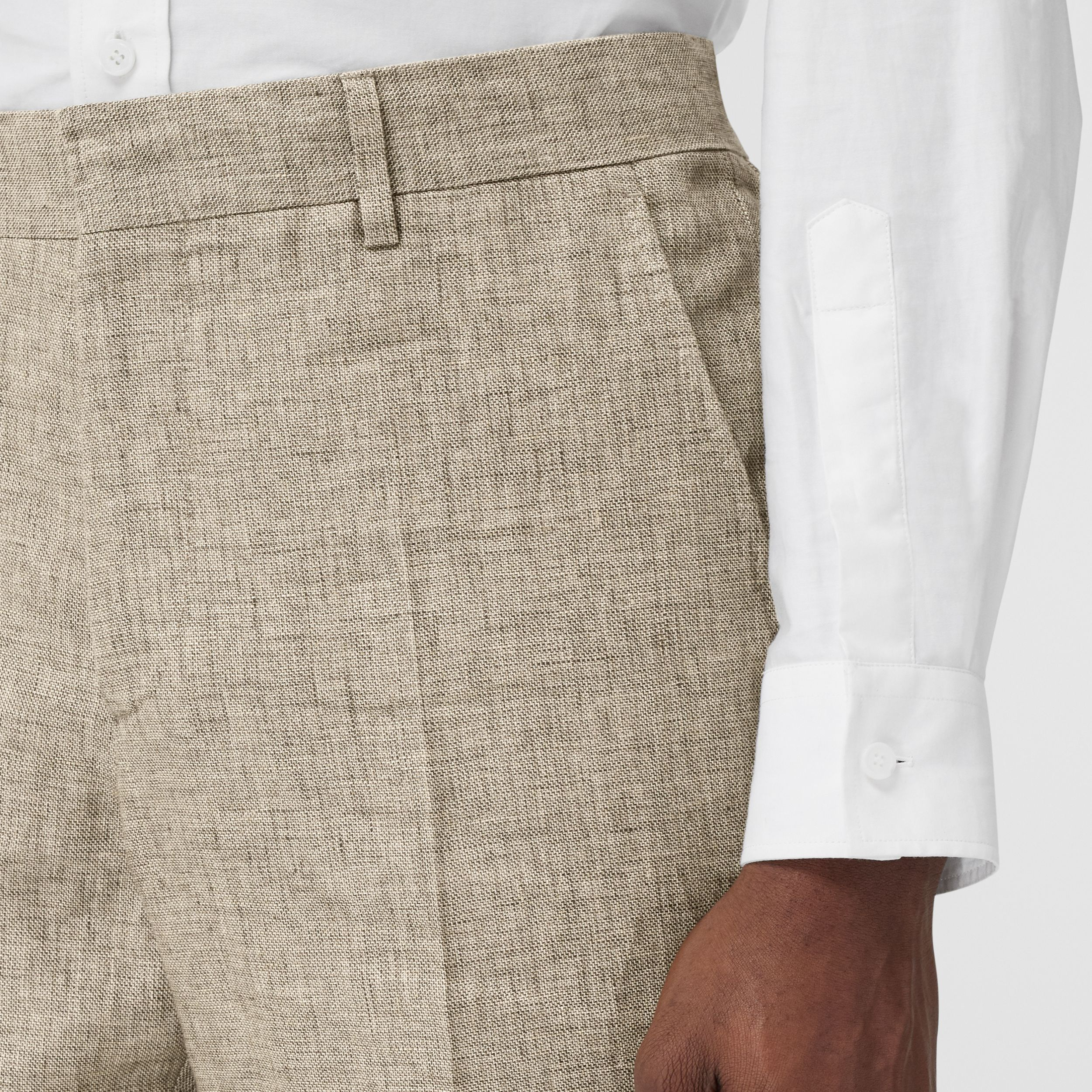Classic Fit Linen Tailored Trousers in Cedar Brown Melange - Men | Burberry - 2