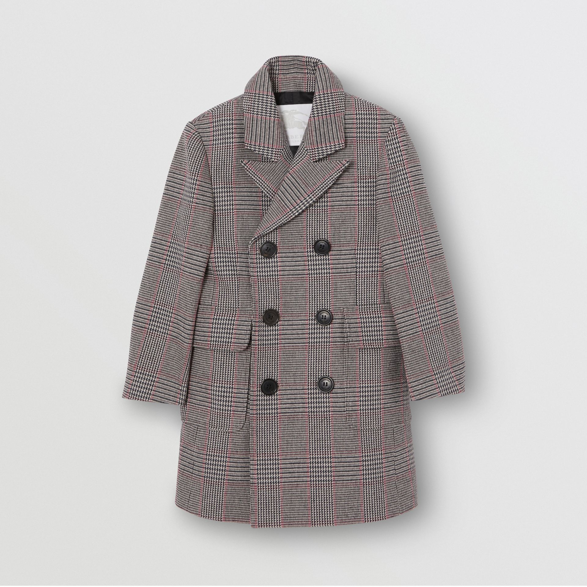 Prince of Wales Check Wool Cotton Blend Coat in Slate Blue Melange | Burberry - gallery image 0